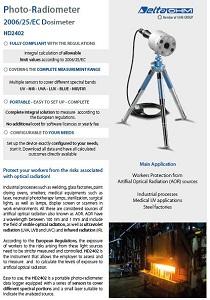 Photoradiometer 2006/25/EC Dosimeter - Artificial Optical Radiation